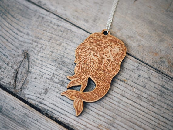 Mermaid & Anchor Necklace - Cherry wood veneer