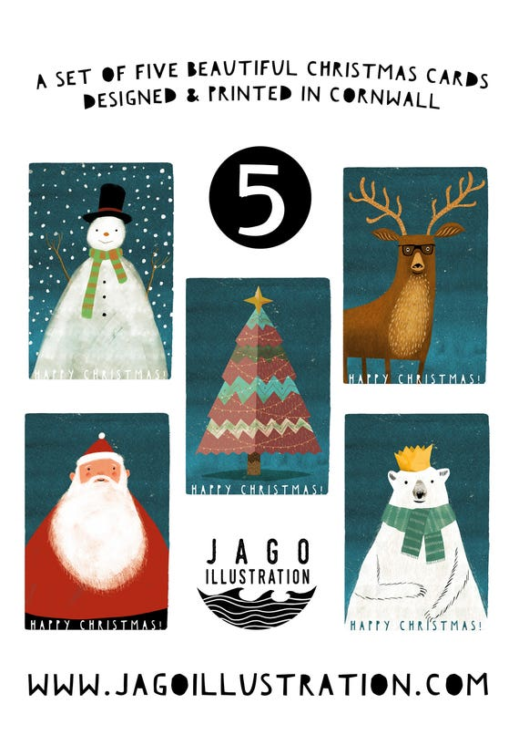 Christmas | Set of 5 Greetings Cards