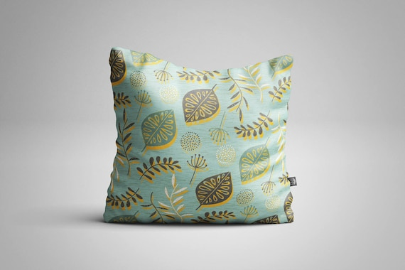 Leaves & Seeds (Blue) Cushion (Cover only)