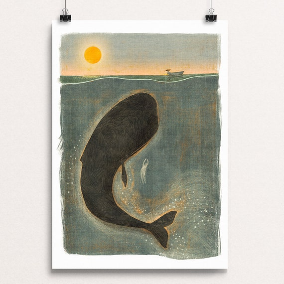 Whale and Swimmer - Signed Print from Cruel & Curious