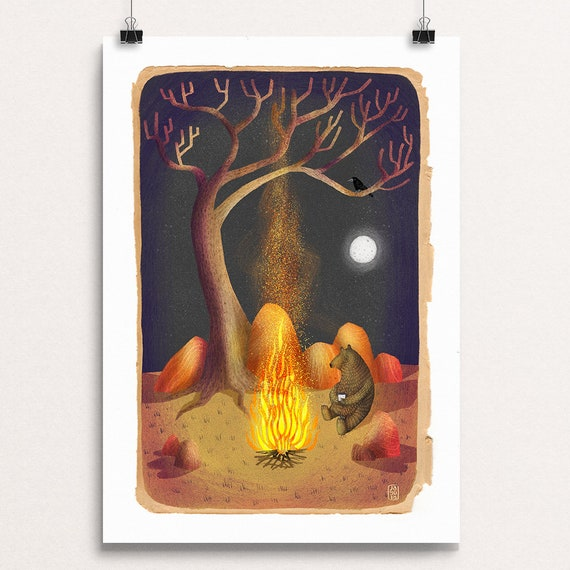 Campfire Bear - Signed Print