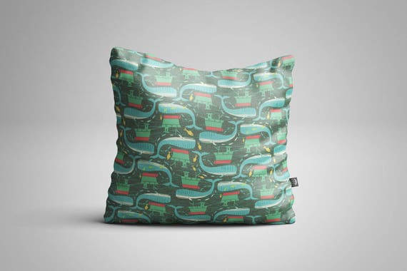 Whales & Fishing Boats Cushion (Cover only)