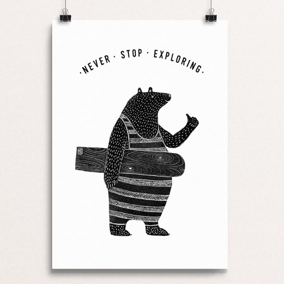 Bellyboard Bear - Signed print