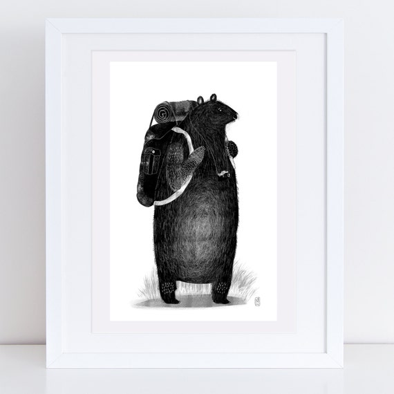 Backpack Bear - Signed print