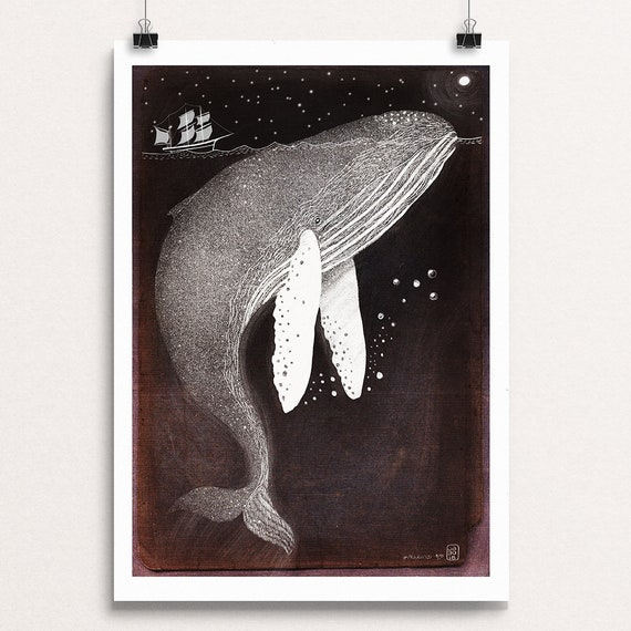 Silver Humpback Whale - Signed Print