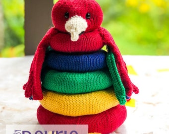 Parrot Stackable Knitted Ring Toy, Knit Toy, Stackable Toy, Toy Parrot, Knit Parrot, Ring Toy, Knit Baby Toy, knitting pattern