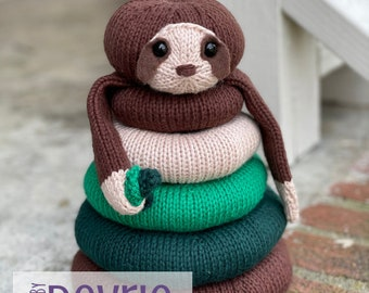 Knitted Sloth Stackable Ring Toy, DIGITAL DOWNLOAD, Knitting Pattern, Knit Toy, Toy Pattern, Stacking Toy, Sloth Baby Gift, Baby Shower Gift