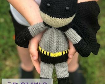 DIGITAL DOWNLOAD, superhero toy. knit toy, knitting pattern, comic superhero, knit character, plush toy
