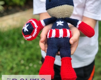 DIGITAL DOWNLOAD, Captain America Inspired, knit plush, knit toy, Captain America Plush, Captain America toy, Knitting pattern, Avengers toy