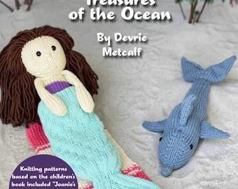 Knitting For Playtime Knitting Pattern Book, PRE ORDER, Knitting book, Mermaid Pattern, Mermaid toy, Mermaid Book, Knit Mermaid