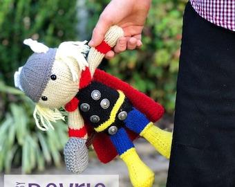 Thor inspired plush, Knit Thor, Kniting pattern, Knit superhero, Thor toy, DIGITAL DOWNLOAD, Avengers toy, Knit avengers, Superhero Plush