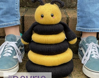 Knitted Bee Stackable Ring Toy, DIGITAL DOWNLOAD, Knitting Pattern, Knit Toy, Toy Pattern, Stacking Toy, Bee Baby Gift, Baby Shower Gift