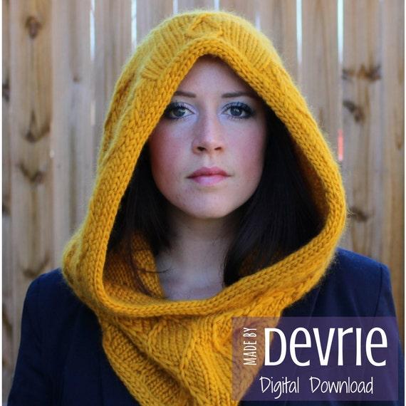 DIGITAL Download Knit hood KNITTING PATTERN Knit cowl Knit   Etsy