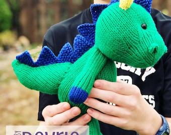 DIGITAL DOWNLOAD, Knit Dinosaur, Dinosaur toy, Knit Toy, Knit animal, Knit dino, Dino Plush, Spike the Dinosaur, Knitting Pattern, Arumigumi
