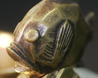Art Deco Soapstone and Bronze Smoking or Desk Accessory Fish Motif