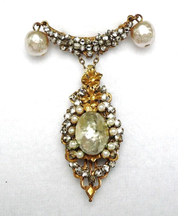 Vintage Miriam Haskell Pearl and Rhinestone Brooch