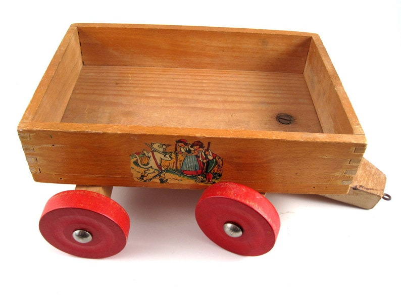 Vintage Wood Wagon Vintage Childs Toy Childs Wooden Wagon Toy Vintage Fairy Tales Nursery Rhymes Made In Germany
