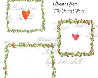 Valentine Wreaths, For Commerical and Personal Use, Valentine Borders, Square Wreath Borders, Rose Borders, Valentine Graphics