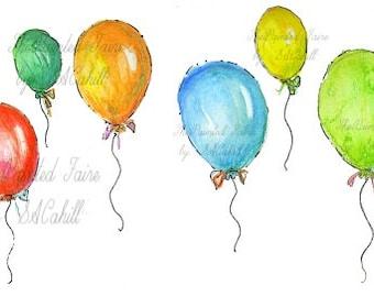 Balloon clip art,Commercial Use, birthday balloon clip art, birthday clip art, digital balloons, balloon graphics, birthday card printables