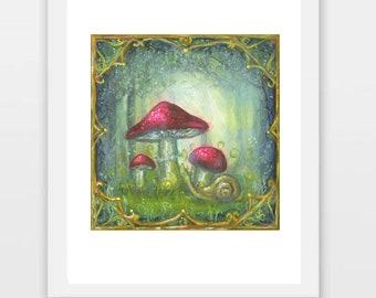 Mushroom Painting, Mushroom Art Print, Mushroom and Snail Art, Fairy Tale Mushroom Print, Snail Art Print
