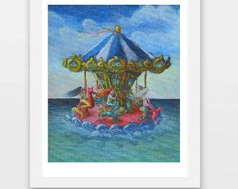 Mermaid Art Print, Merry Go Round Painting, Mermaid Decor,