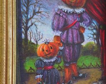 Halloween Art Print, gothic Renaissance  Art Print, Pumpkin Head Art, Gothic Halloween Art Print, Autumn Painting, Halloween Wall Decor