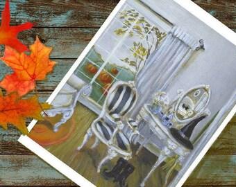 Autumn Art Print, Witch Art Print, Cat Painting, Fall Wall Decor, Halloween Art Print, Black Cat Art