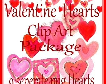 Valentine Hearts Clip Art, Commercial Use Heart Clip Art, Pink Hearts, Red Hearts, digital hearts instant download