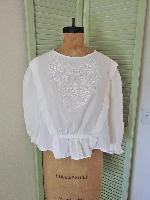 Antique Victorian White Cotton Sartouche Design Bl
