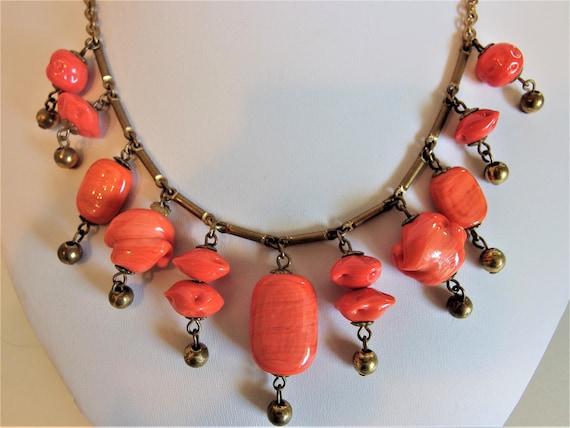 Vintage Victorian Style Faux Coral Statement Neckl