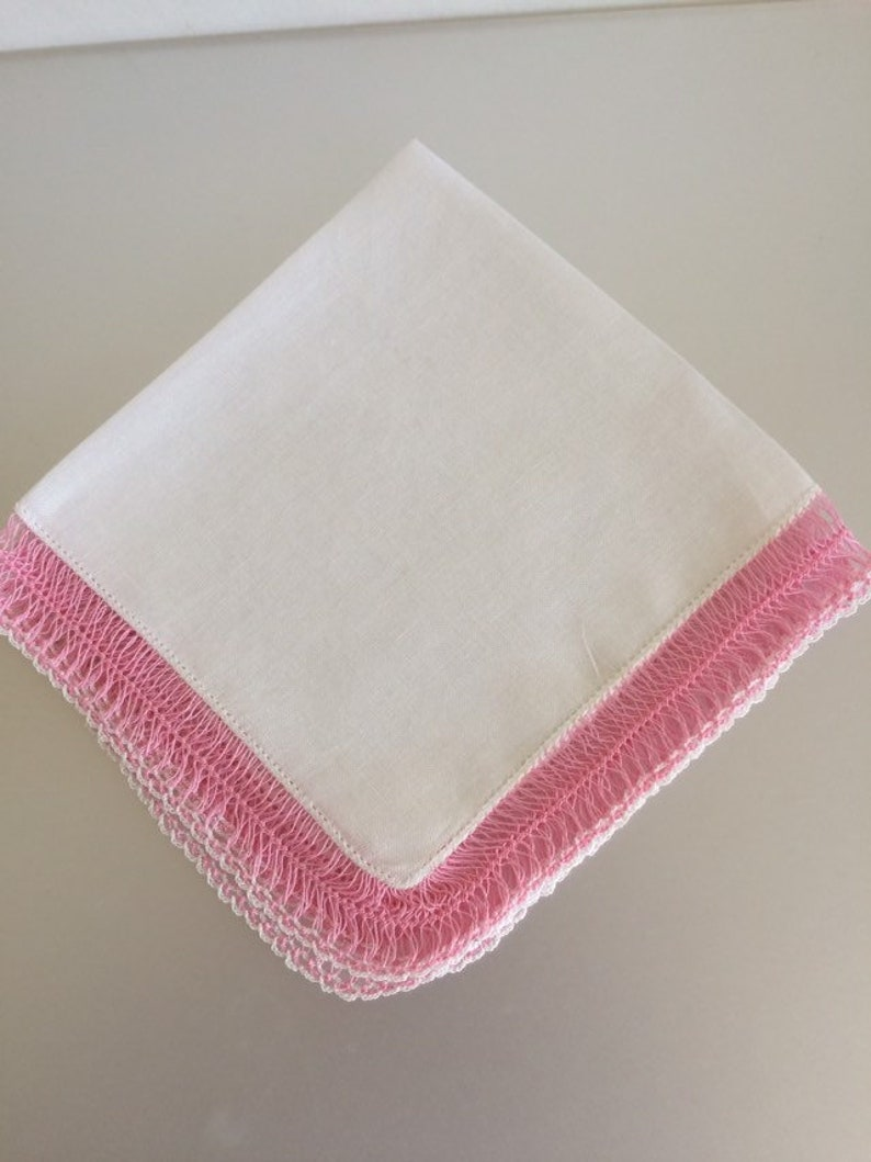 Bridal Hanky White Cotton Ladies Hankie Vintage 1950s Pink Hairpin Lace Edge Hankie