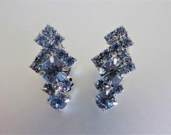 Vintage Baby Blue Glass Rhinestone Earrings