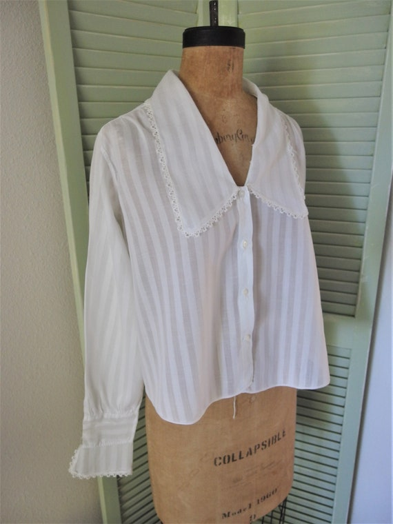 Antique Edwardian White Cotton Ladies Shirtwaist