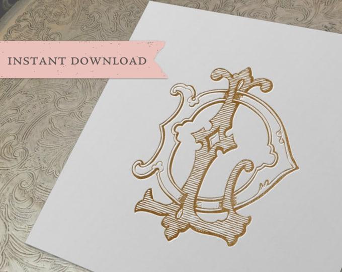 Vintage Wedding Monogram DL LD Digital Download D L