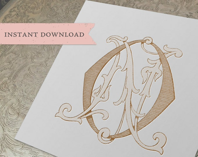 Vintage Wedding Monogram NO ON Digital Download N O