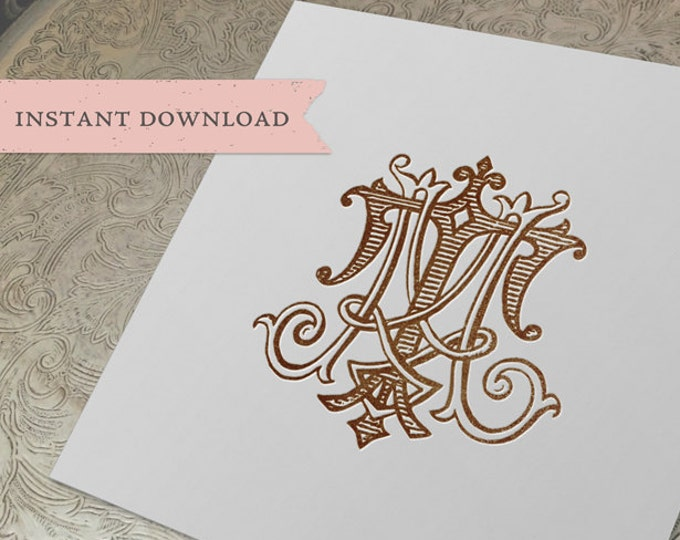 Vintage Wedding Monogram TM MT Digital Download  T M
