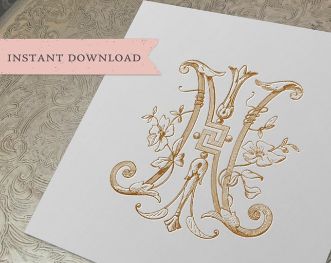 Vintage Wedding Monogram NI IN Digital Download N I