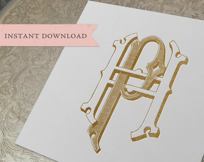 Vintage Wedding Monogram HP PH Digital Download H P