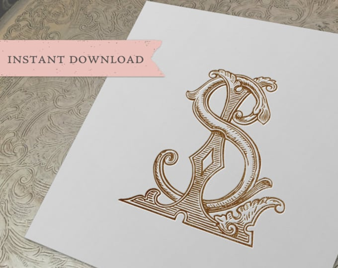 Vintage Wedding Monogram SL LS Digital Download S L