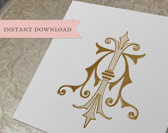 Vintage Wedding Monogram AI IA Digital Download A I