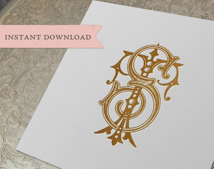 Vintage Wedding Monogram TS ST Digital Download S T