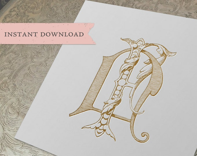Vintage Wedding Monogram NF FN Digital Download N F