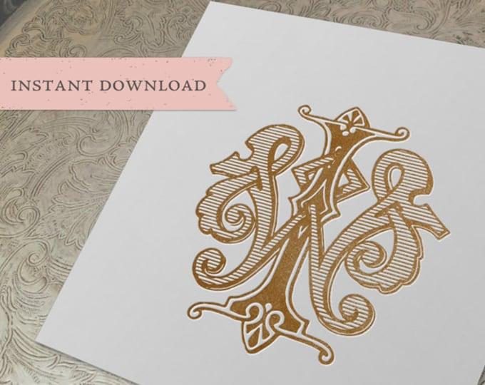 Vintage Wedding Monogram WI IW Digital Download W I