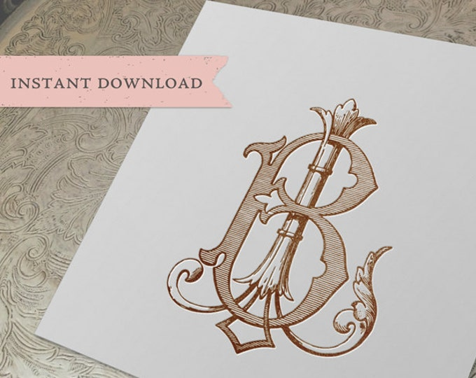 Vintage Wedding Monogram BL LB Digital Download B L