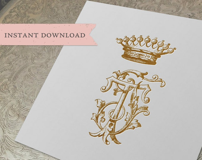 Vintage CROWN Monogram TJ JT Digital Download J T