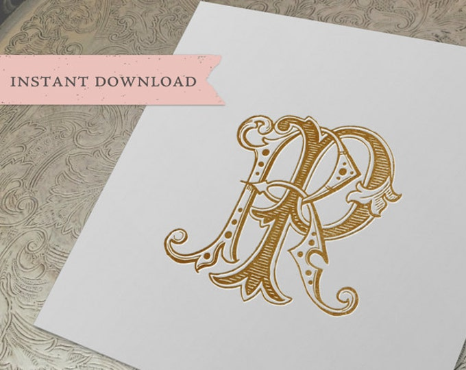 Vintage Wedding Monogram RP Digital Download R P
