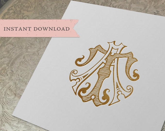 Vintage Monogram AT TA Digital Download A T