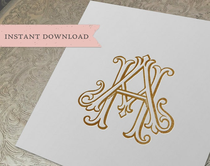 Vintage Wedding Monogram HA AH Digital Download A H