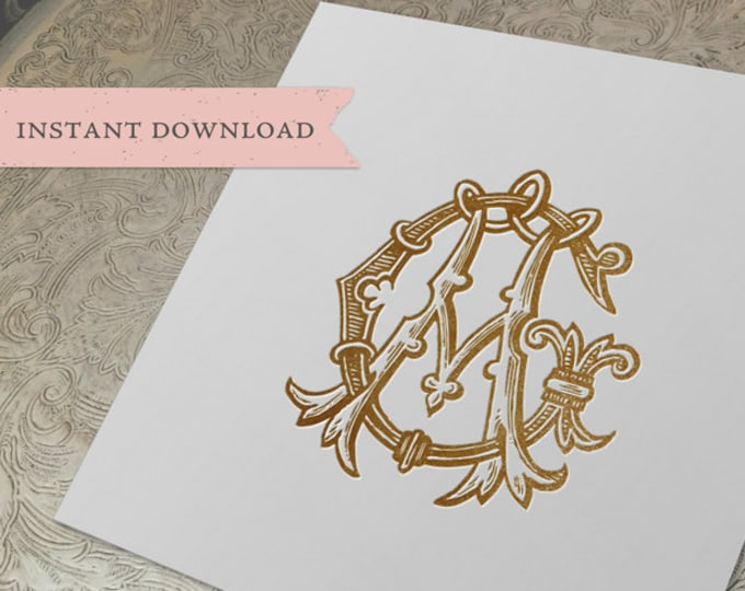 Vintage Wedding Monogram GA AG Digital Download G A