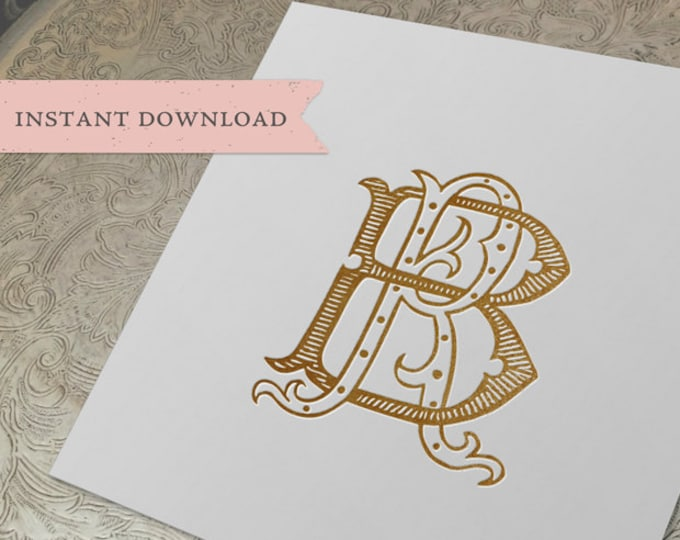 Vintage Wedding Monogram RB BR Digital Download B R